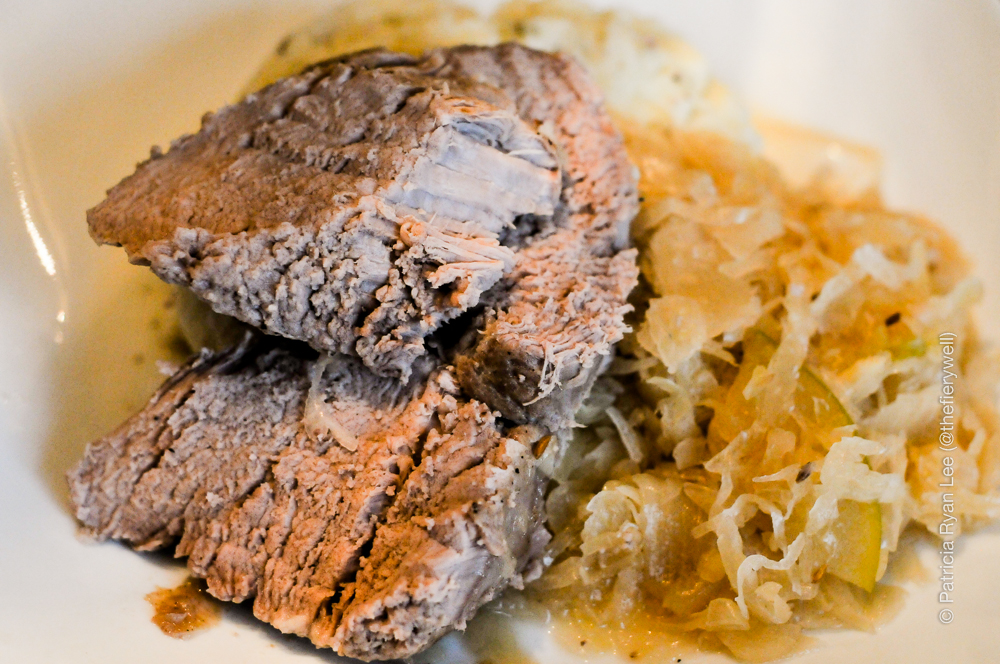 Pork Tenderloin, Mashed Potatoes and Sauerkraut  with Apple