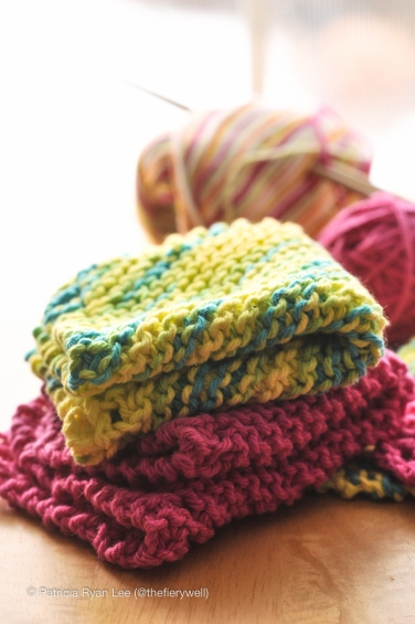 vibrant, colorful, knitted dish cloths